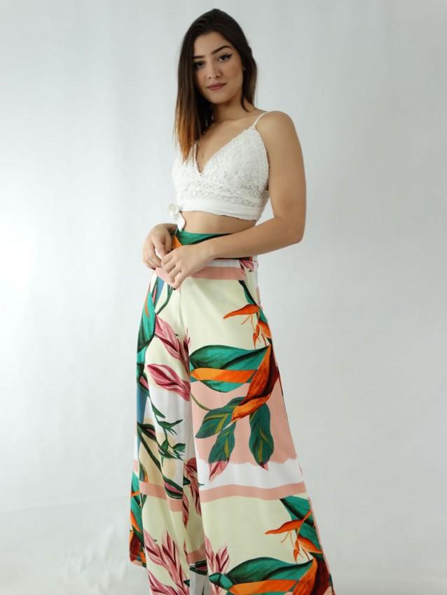 Calça Pantalona em Viscose com Pala e Elástico Amarelo Folhas Detalhes Rose [1911106]