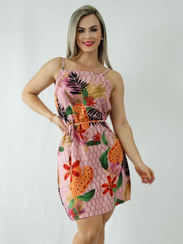 Vestido em Viscose Decote Quadrado de Alça Trabalhada Rose Geométrico Folhas [1910092]