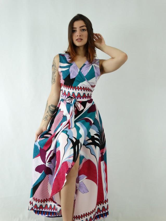 Vestido em Viscose Envelope Transpassado Rosa Folhas Poá [1907043]