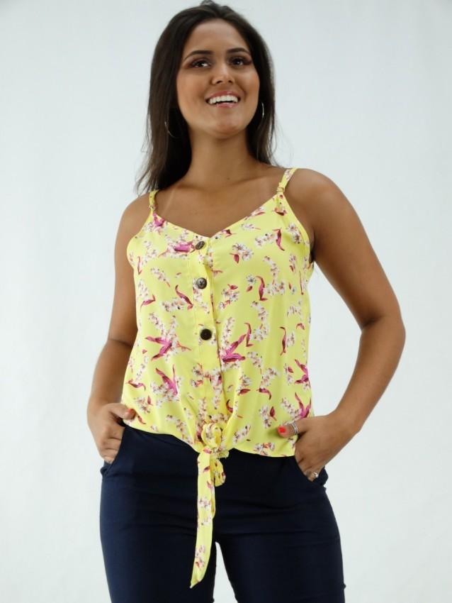 Blusa em Viscose de Alça Decote V com Botões Amarelo Flores [2001073]