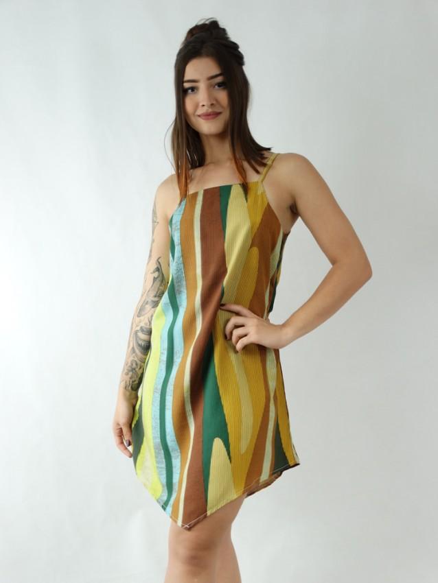 Vestido em Viscose Assimétrico Colors Listras [1912001]