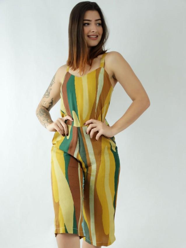 Macacão Pantacourt em Viscose Decote V Colors Listras [1912013]