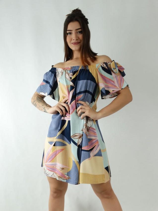 Vestido em Viscose Ciganinha Colors Geometrico Folhas [1911331]