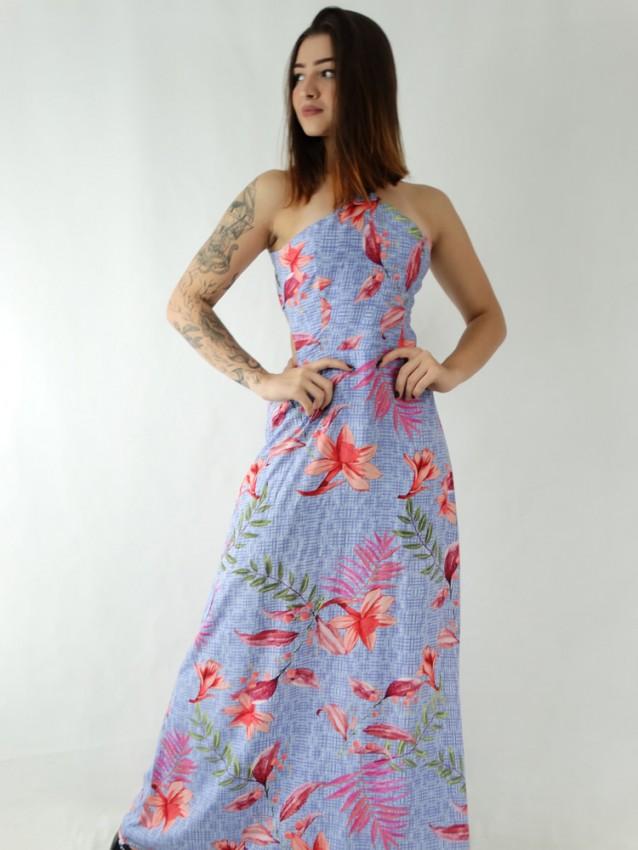 Vestido Longo em Viscose Frente Única Azul Riscos Folhas [1911035]