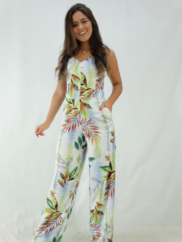 Macacão Pantalona em Viscose Decote V Branco Folhas Flores [1912143]