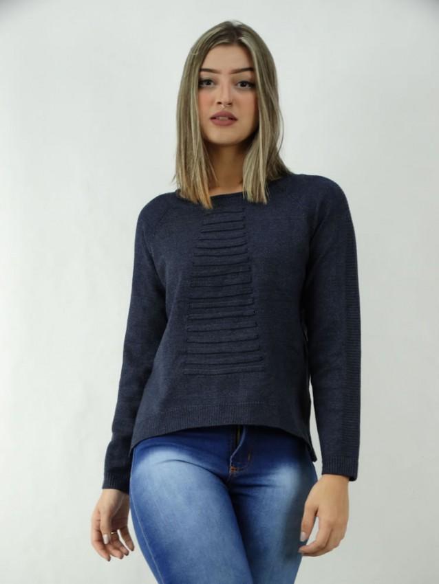 Suéter em Tricot detalhes frente e costas Azul Marinho [2003091]