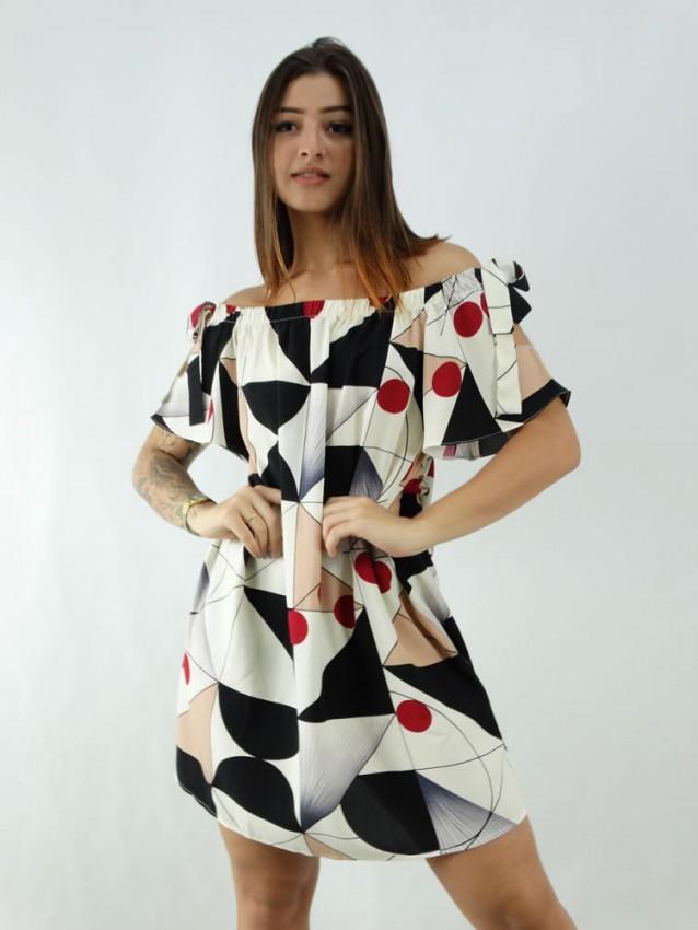 Vestido em Viscose Ciganinha Bege Geométrico Colors [1912165]