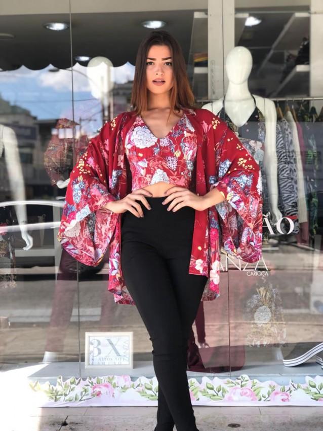 Kimono em Viscose Vermelho Flores [1904181]