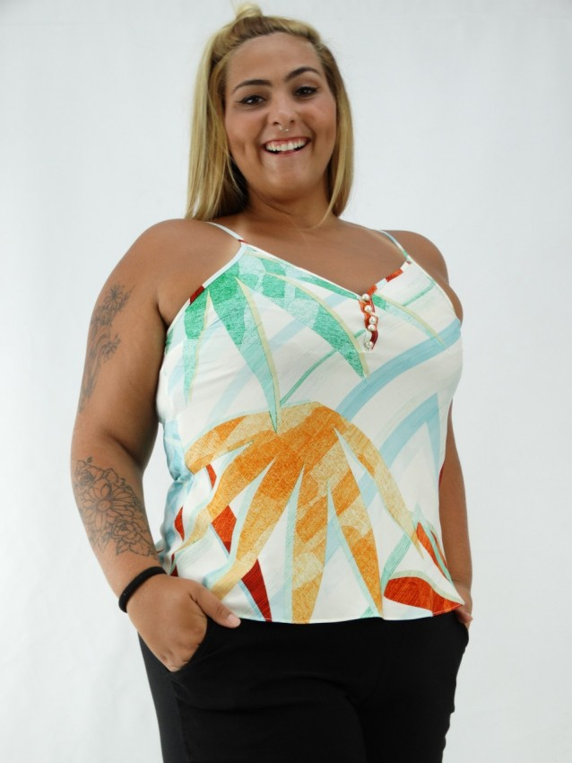 Blusa em Viscose de Alça com Botões Plus Size Folhas Colors [2001090]