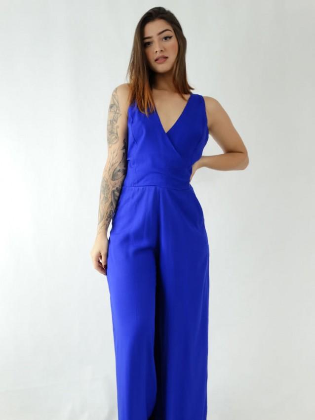 Macacão Pantalona em Viscose Alça Larga Decote Transpassado Azul Caneta [1911342]