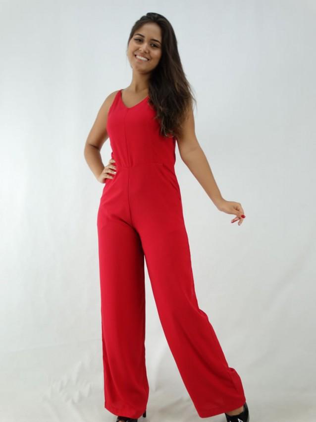 Macacão Pantalona em Viscose Decote V Vermelho [1912163]