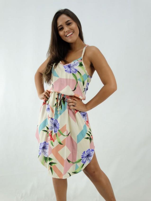 Vestido em Viscose Midi de Alça com Elástico na Cintura Bege Flores Detalhes Colors [1912055]