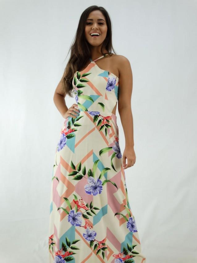 Vestido Longo em Viscose Frente Única Bege Detalhes Colors Flores [1912042]
