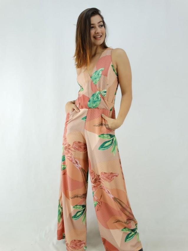 Macacão Pantalona em Viscose Alça Larga Decote Transpassado Rose Geométrico Folhas [2001005]
