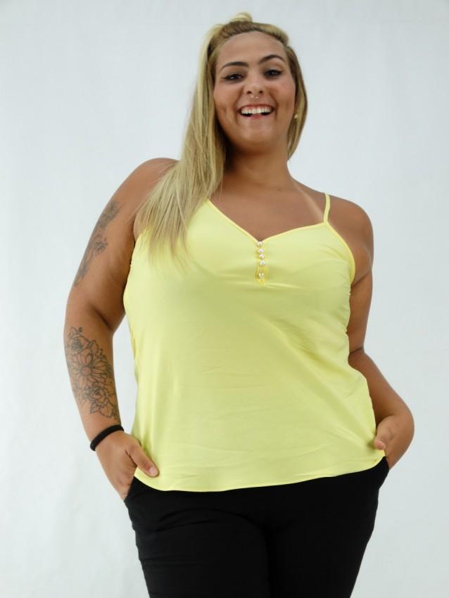 Blusa em Viscose de Alça com Botões Plus Size Amarelo [2001088]