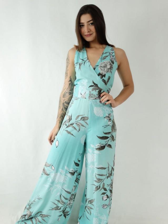 Macacão Pantalona em Viscose Alça Larga Decote Transpassado Azul Turquesa Flores Cinza [1911338]