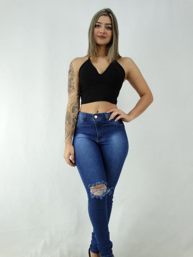 Calça Jeans Detalhe Destroyed com Stretch [2003042]