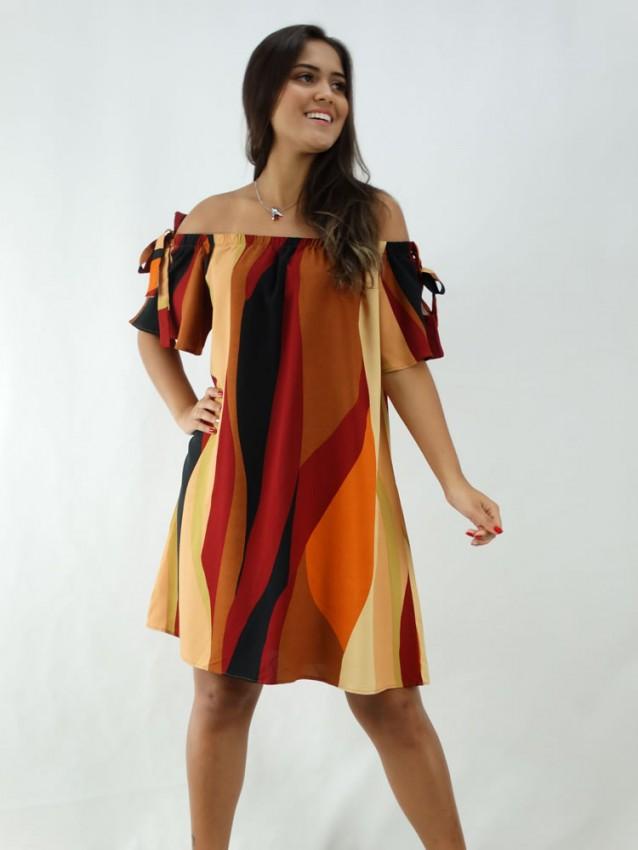 Vestido em Viscose Ciganinha Colors Listras [1912132]