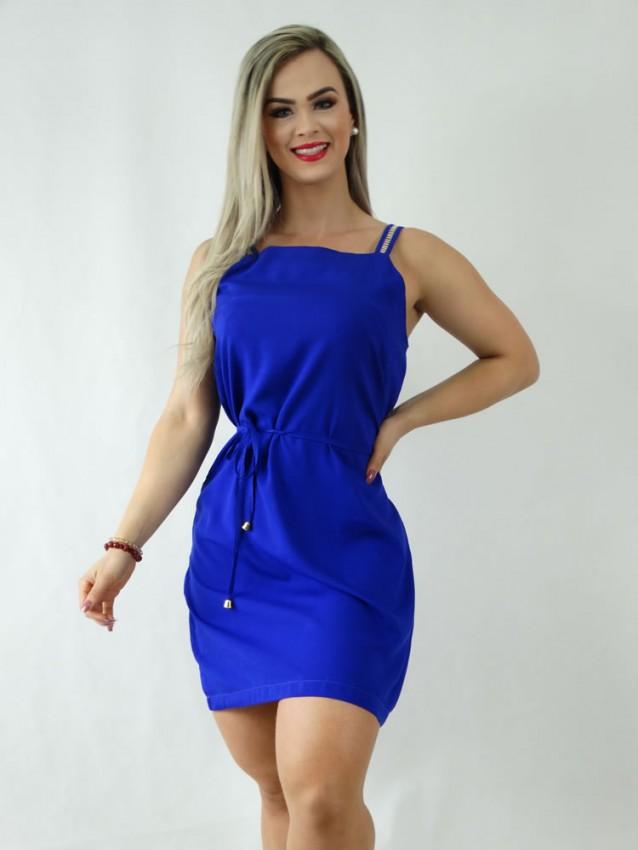 Vestido em Viscose Decote Quadrado de Alça Trabalhada Azul Caneta [1910102]