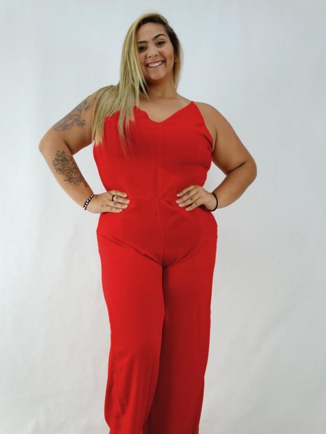 Macacão Pantalona em Viscose Decote V Plus Size Vermelho [1912153]
