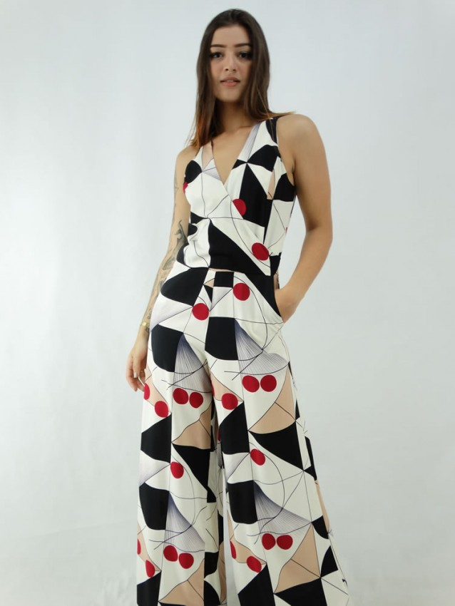 Macacão Pantalona em Viscose Alça Larga Decote Transpassado Bege Geométrico Colors [2001003]
