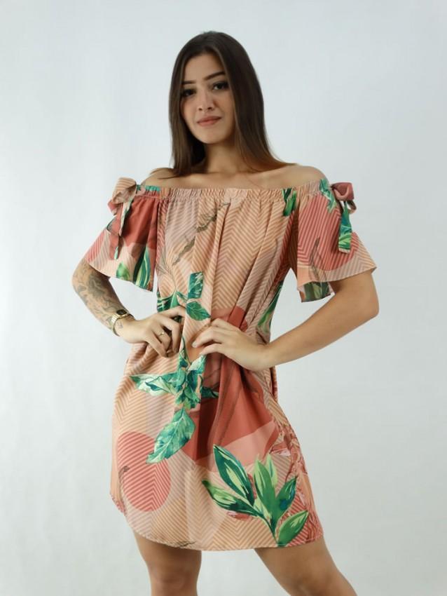 Vestido em Viscose Ciganinha Rose Geométrico Folhas [1912167]