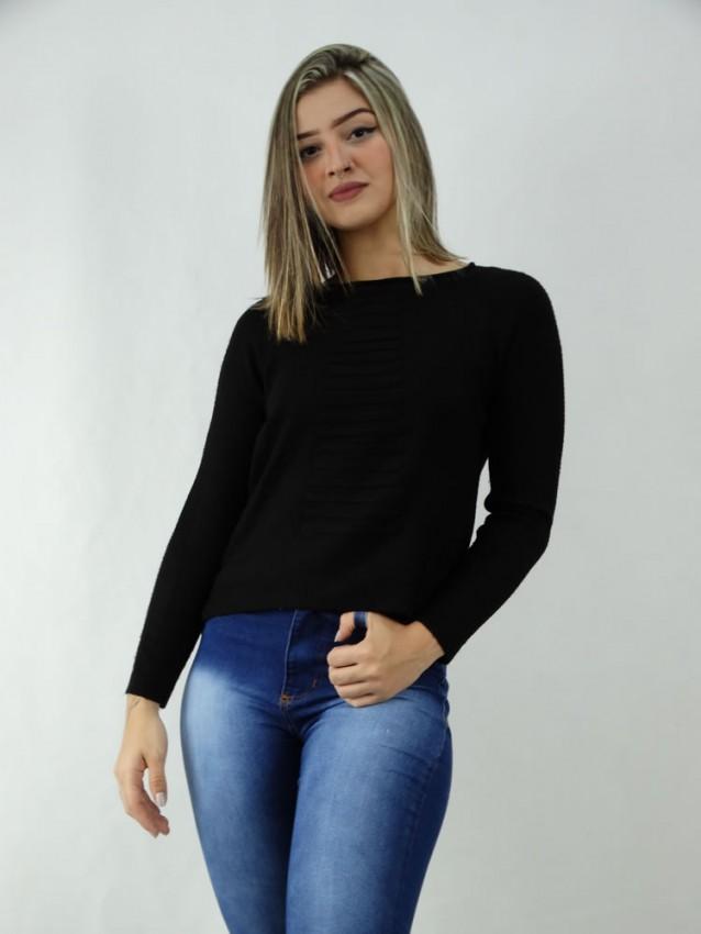 Suéter em Tricot detalhes frente e costas Preto [2003090]